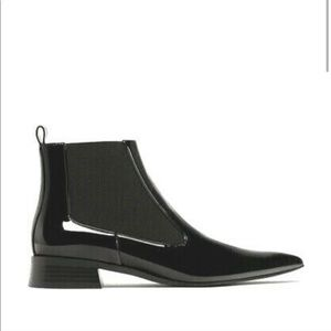 Zara Black Patent Pointed Toe Ankle Boots 40